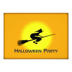 Halloween Witch On Broomstick Party Event Card at Zazzle