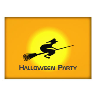 Halloween Witch On Broomstick Party Event Invite