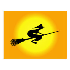 Halloween Witch On Broomstick Postcard at Zazzle