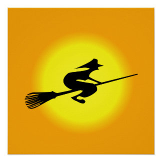 Halloween Witch On Broomstick Poster