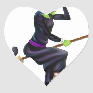 Halloween Witch on Broomstick with Cat Sticker