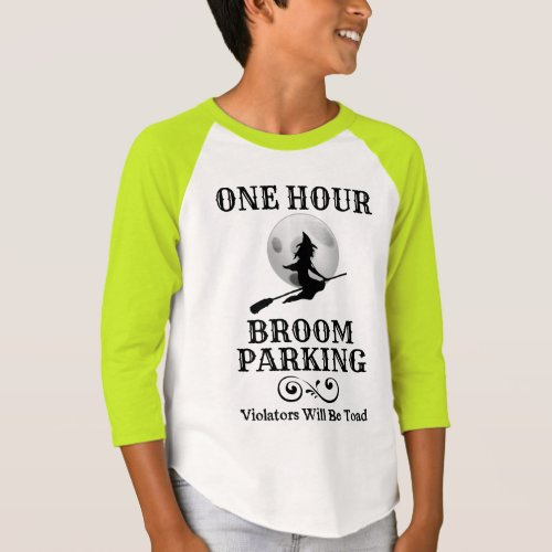 Halloween Witch One Hour Broom Parking Raglan T-Shirt