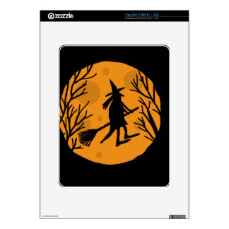 Halloween witch - orange moon decals for the iPad