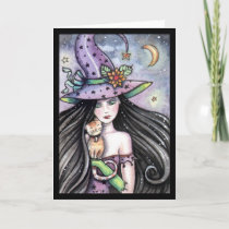 Halloween Witch Orange Tabby Greeting Card