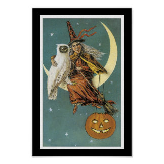 Halloween Witch, Owl, Moon, and Pumpkin Poster