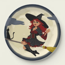 Halloween witch paper plate