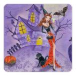 "Halloween Witch - Party Invitation 5.25"" Square Invitation Card"