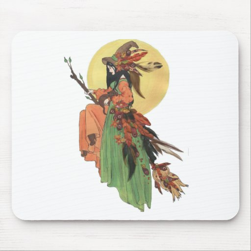 Halloween Witch Passes through the Moonlight Mouse Pad