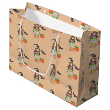 Halloween Themed Halloween witch pattern peach gift bag