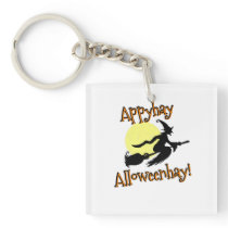 Halloween Witch Pig Latin square Keychain
