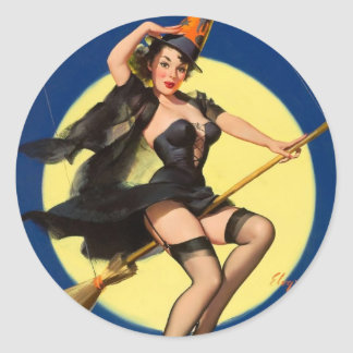 Halloween Witch Pin Up Girl Classic Round Sticker