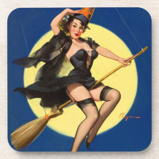 Halloween Witch Pin Up Girl Beverage Coasters