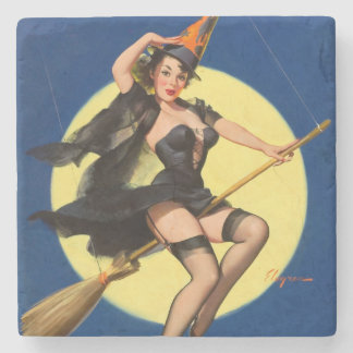 Halloween Witch Pin Up Girl Stone Coaster