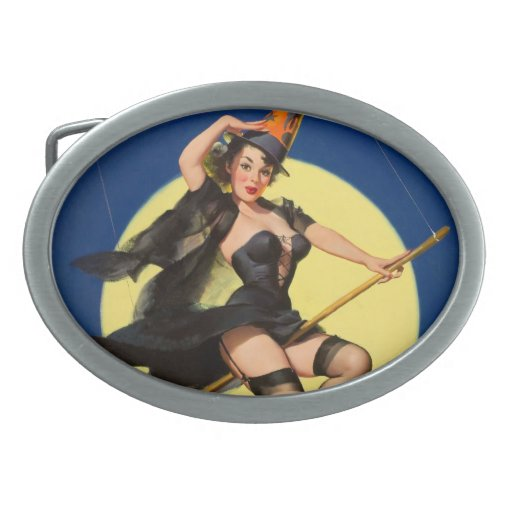 Halloween Witch Pin Up Girl Oval Belt Buckle