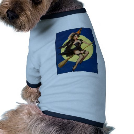 Halloween Witch Pin Up Girl Pet Tshirt