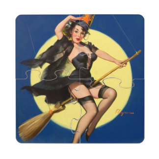 Halloween Witch Pin Up Girl Puzzle Coaster