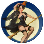 Halloween Witch Pin Up Girl Porcelain Plates