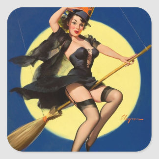 Halloween Witch Pin Up Girl Square Sticker