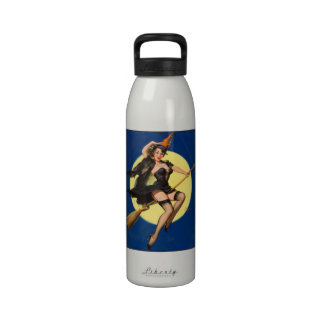 Halloween Witch Pin Up Girl Drinking Bottles