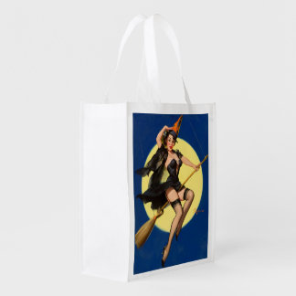 Halloween Witch Pin Up Girl Reusable Grocery Bags