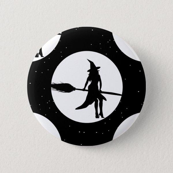 halloween witch pinback button