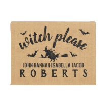 Halloween Witch Please Custom Rustic Burlap Doormat