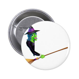 Halloween Witch Pointing with Broom Buttons