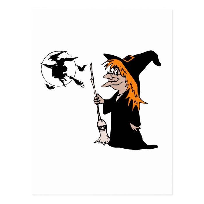 halloween witch postcard