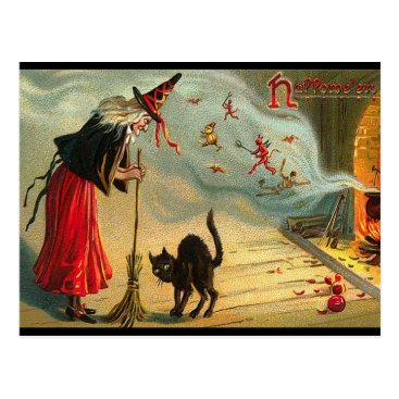 Halloween Themed Halloween Witch Postcard, Black Cat, Broom, Magic Postcard