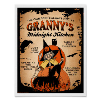 Halloween Witch Poster Granny's Midnight Kitchen