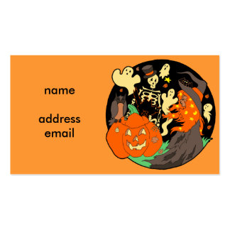 Halloween Witch Pumpkin Ghost and Skeleton Business Card Templates
