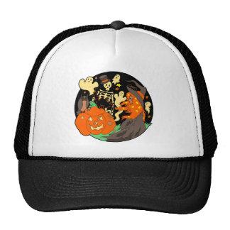 Halloween Witch Pumpkin Ghost and Skeleton Trucker Hat