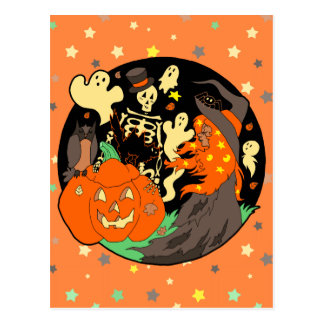 Halloween Witch Pumpkin Ghost and Skeleton Postcard