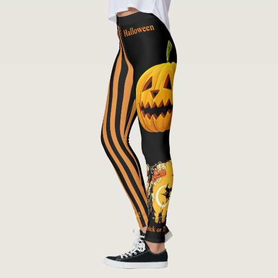 Halloween Witch Pumpkin Leggings Black Pants