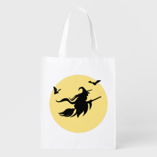 Halloween witch reusable grocery bag