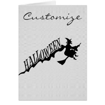Beach Themed Halloween Witch Riding Broom Thunder_Cove Card