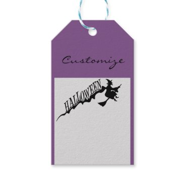 Beach Themed Halloween Witch Riding Broom Thunder_Cove Gift Tags