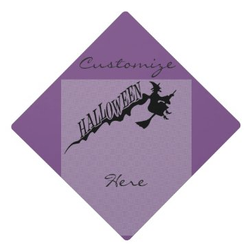Beach Themed Halloween Witch Riding Broom Thunder_Cove Graduation Cap Topper
