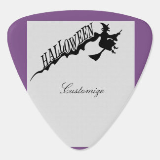Halloween Witch Riding Broom Thunder_Cove Guitar Pick