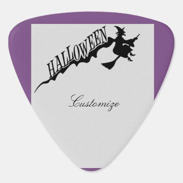 Beach Themed Halloween Witch Riding Broom Thunder_Cove Guitar Pick