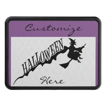 Beach Themed Halloween Witch Riding Broom Thunder_Cove Tow Hitch Cover