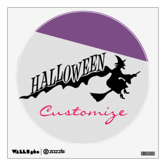 Halloween Witch Riding Broom Thunder_Cove Wall Sticker