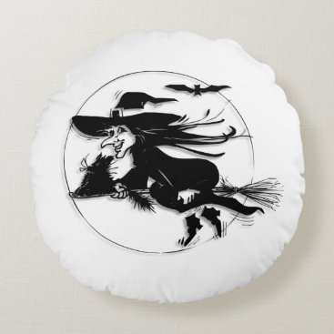 Halloween Themed Halloween Witch Round Pillow