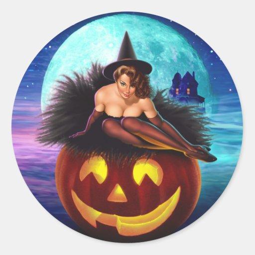 """""""Halloween Witch"""" Round Sticker"""