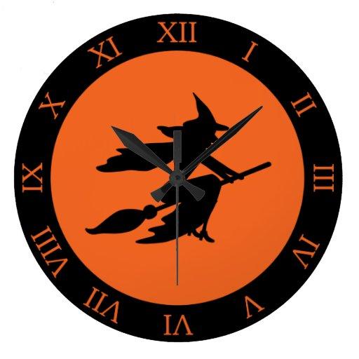 Halloween Witch Round Wall Clock