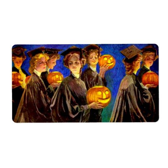 Halloween witch school label