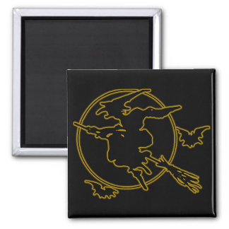 Halloween Witch Silhouette 2 Inch Square Magnet