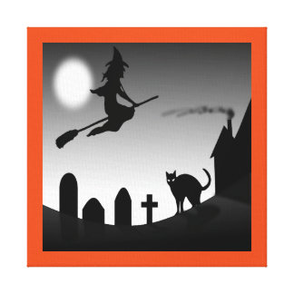 HALLOWEEN WITCH SILHOUETTE CANVAS PRINT