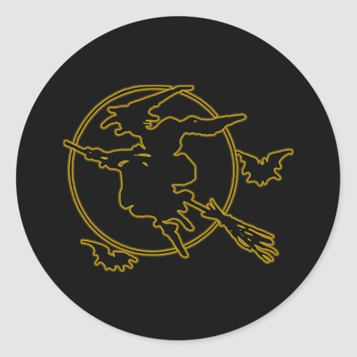 Halloween Witch Silhouette Classic Round Sticker