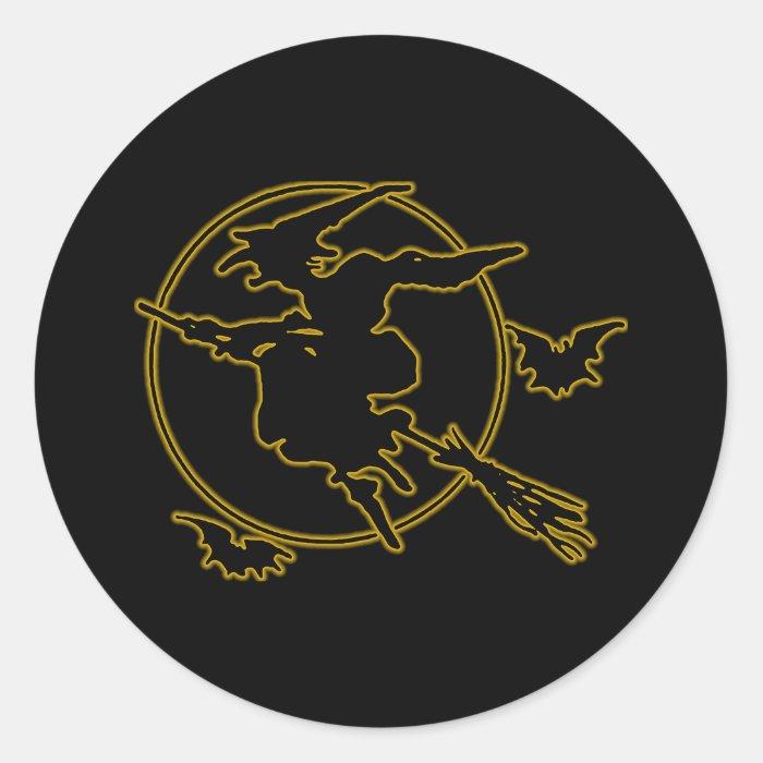 Halloween Witch Silhouette Classic Round Sticker